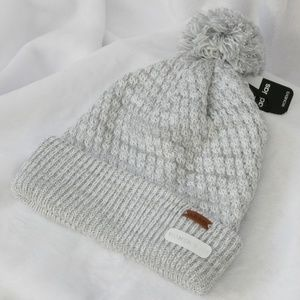 Adidas White/Grey with Silver Winter Hat with Pom